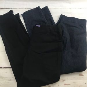 NYDJ two pair pull on ankle pants black and denim